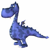 Blue Dragon Cartoon. Blue Male Dragon Cartoon on a white background Royalty Free Stock Images