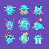 Blue Dragon Character Activities Set Royalty Free Stock Photos
