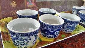 Blue dragon Chinese hot tea cup Stock Image