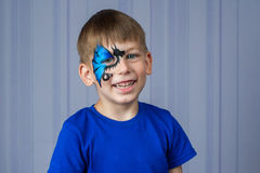 Blue dragon facepainting Stock Images