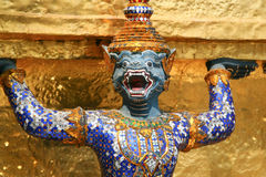 Blue dragon. Fragment of King Palace in Bangkok. Royal Pavilion Mahajetsadabadin in Thailand Royalty Free Stock Images