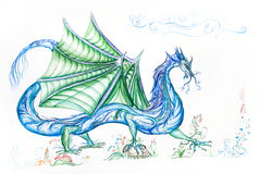 Blue dragon with green wings Royalty Free Stock Photos