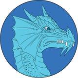 Blue Dragon Head Angry Circle Drawing Royalty Free Stock Image