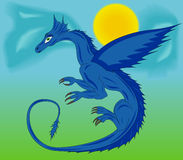 Blue dragon in the sky Stock Image