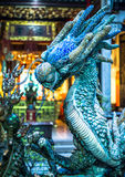 Blue dragon statue Royalty Free Stock Images