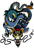 Blue dragon tattoo Royalty Free Stock Image