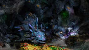 Blue dragon and treasure. Cave with dragon, jewels and golden coins Royalty Free Stock Image
