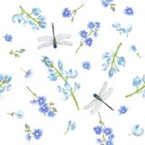 Blue dragonfly pattern Royalty Free Stock Image