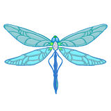Blue Dragonfly on white background. Vector illustration for your design. Stock Photography
