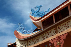 Blue dragons on the roof Stock Photos