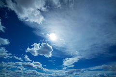 Blue and dramatic clouds sky in winter Stock Photos