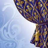 Blue drape. Raster version of image of a blue drape with gold vintage ornament against the abstract background There is in addition a format (EPS 8 vector illustration