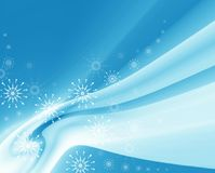 Blue drapery and snowflakes Stock Photos