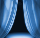 Blue Drapes On Empty Stage Stock Images