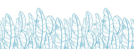 Blue drawn feathers horizontal seamless pattern Stock Photo