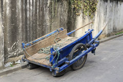 Blue dray by the road Royalty Free Stock Photography
