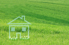 Blue Dream House. With daisies on green meadow Royalty Free Stock Photos