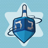 Blue Dreidel Spinning, Vector Illustration Stock Image
