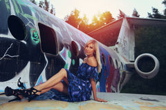 Blue dress Stock Photography