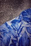 Blue dress. The dry land and blue skirt Royalty Free Stock Photography
