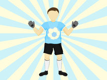 Blue dress goalie catch on striped background vector. Illustration Stock Images