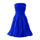 Blue dress isolated on white Stock Photos
