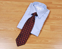 Blue dress shirt with tie. Royalty Free Stock Image