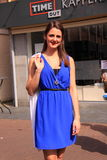 Blue summer dress street style fashion stock image