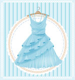 Blue dress. Vintage  label with blue dress Royalty Free Stock Photos