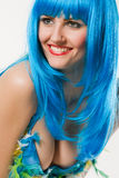 Blue dress and wig. Attractive woman with blue wig Stock Photography