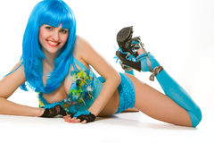 Blue dress and wig. Attractive woman with blue wig Royalty Free Stock Photo