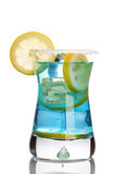 Blue drink. Fresh drink with blue curacao isolated on white Stock Photography