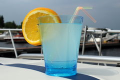 Blue drink on the bow of a boat at the marina. On a sunny day Royalty Free Stock Photo