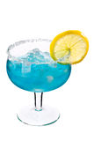 Blue drink with ice and lemon. Cocktails on white: Blue Margarita Royalty Free Stock Photos