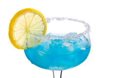 Blue drink with ice and lemon. Cocktails on white: Blue Margarita Royalty Free Stock Images