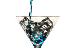 Blue drink with lots of ice cubes Royalty Free Stock Photo