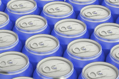 Blue drink metallic cans, top view Royalty Free Stock Photos