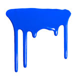 Blue dripping paint against a white background Royalty Free Stock Photo