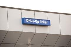 Drive-up teller sign Stock Photos