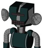 Blue Droid With Mechanical Head And Keyboard Mouth And Black Visor Cyclops. Portrait style Blue Droid With Mechanical Head And Keyboard Mouth And Black Visor vector illustration