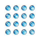 Blue drop building icons Stock Photography