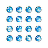 Blue drop document icons Stock Photos