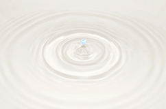 Blue drop falls into the water on a white background Stock Photography