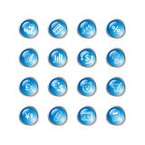 Blue drop finance icons Stock Photo