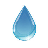 Blue drop towards. Water on white background Stock Images