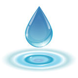 Blue drop towards. Water on white background Royalty Free Stock Images