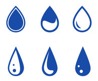 Blue droplet set. Set of six blue isolated droplet silhouette stock illustration