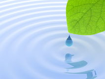 Blue droplet of water and green leaf Royalty Free Stock Photo