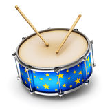 Blue drum with drumsticks Royalty Free Stock Images