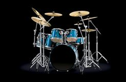 Drum kit. Blue Drum kit over dark background Royalty Free Stock Image